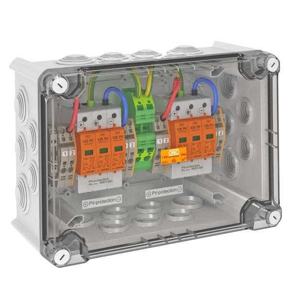 OBO overvoltage box DC type I + II, 2 MPP, terminals