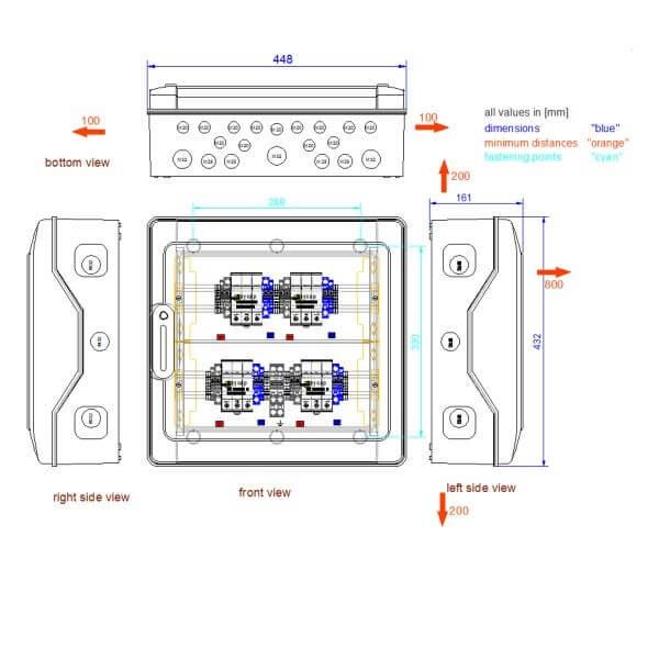 enwitec overvoltage protection DC types I+II, 4 MPPT, terminals