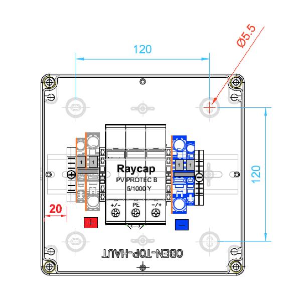 enwitec overvoltage protection Raycap DC type II, 1 MPPT, terminals