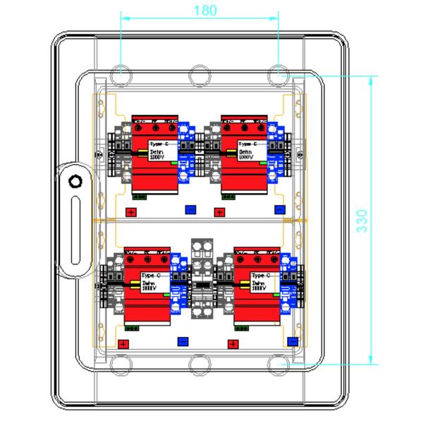 enwitec overvoltage protection DC type II, 4 MPPT, terminals