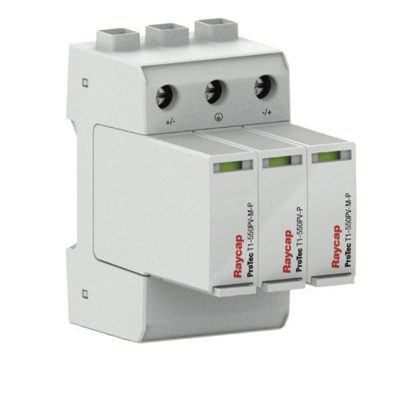 Raycap DC overvoltage protection top-hat rail types I+II