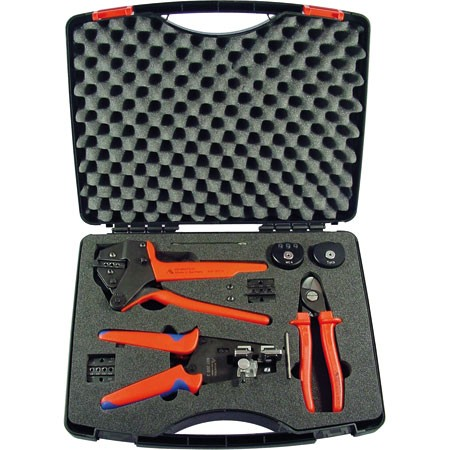 MC4 tool case, press / wire stripper